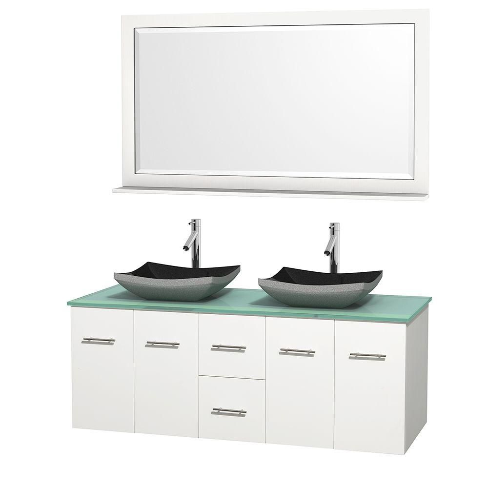 Centra 60-inch W Double Vanity in White with Glass Top with Black Basins and Mirror