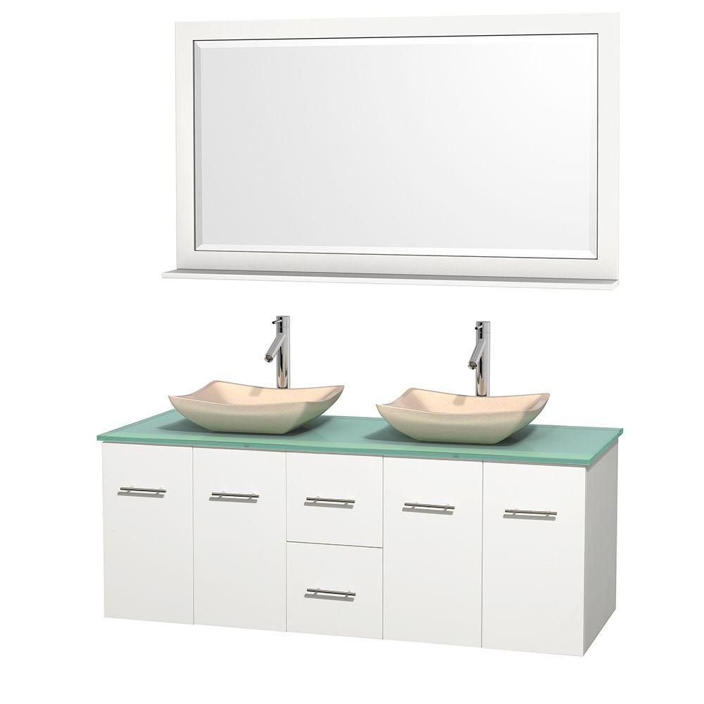Centra 60-inch W Double Vanity in White with Glass Top with Ivory Basins and Mirror