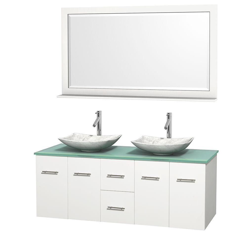 Centra 60-inch W Double Vanity in White with Glass Top with White Basins and Mirror