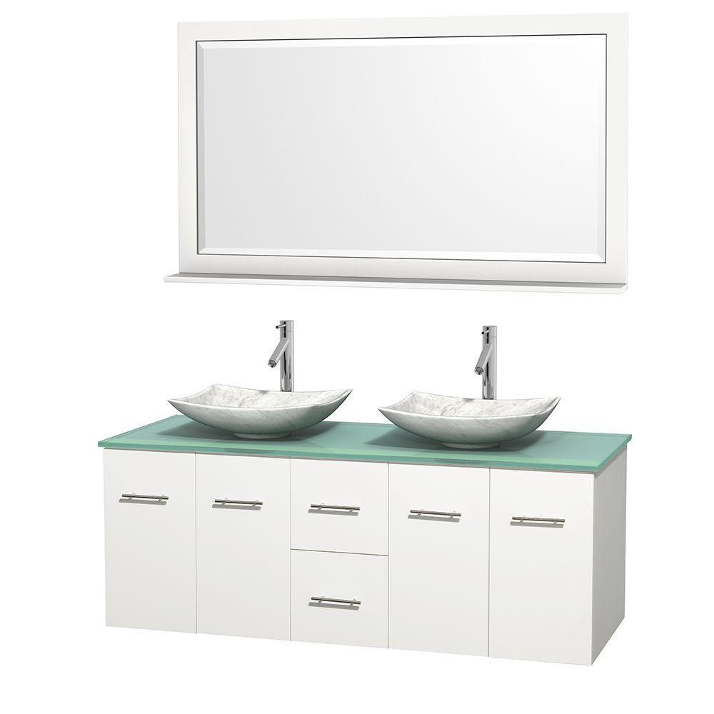 Meuble double Centra 60 po. blanc, comptoir verre vert, lavabos blanc Carrare, miroir 58 po.
