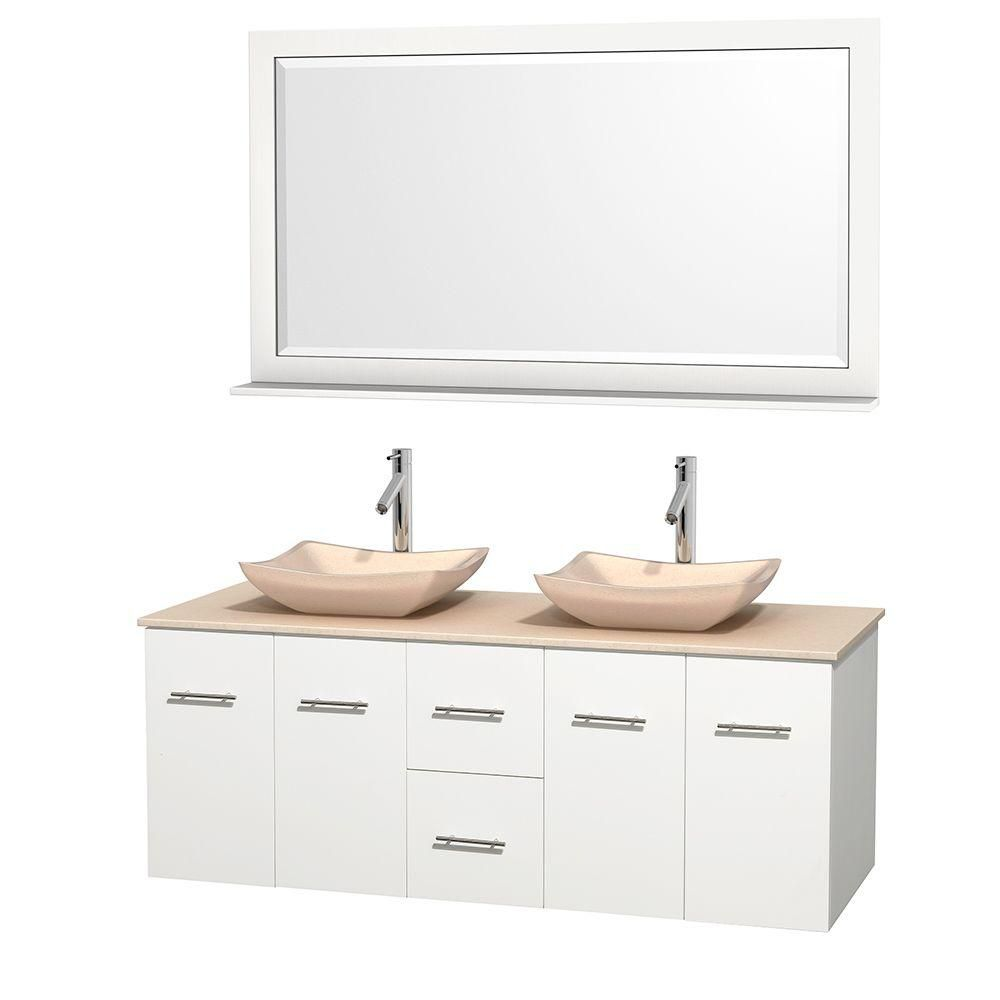 Wyndham Collection Centra 60-inch W 2-Drawer 4-Door Wall Mounted Vanity in White With Marble Top in Beige Tan, 2 Basins