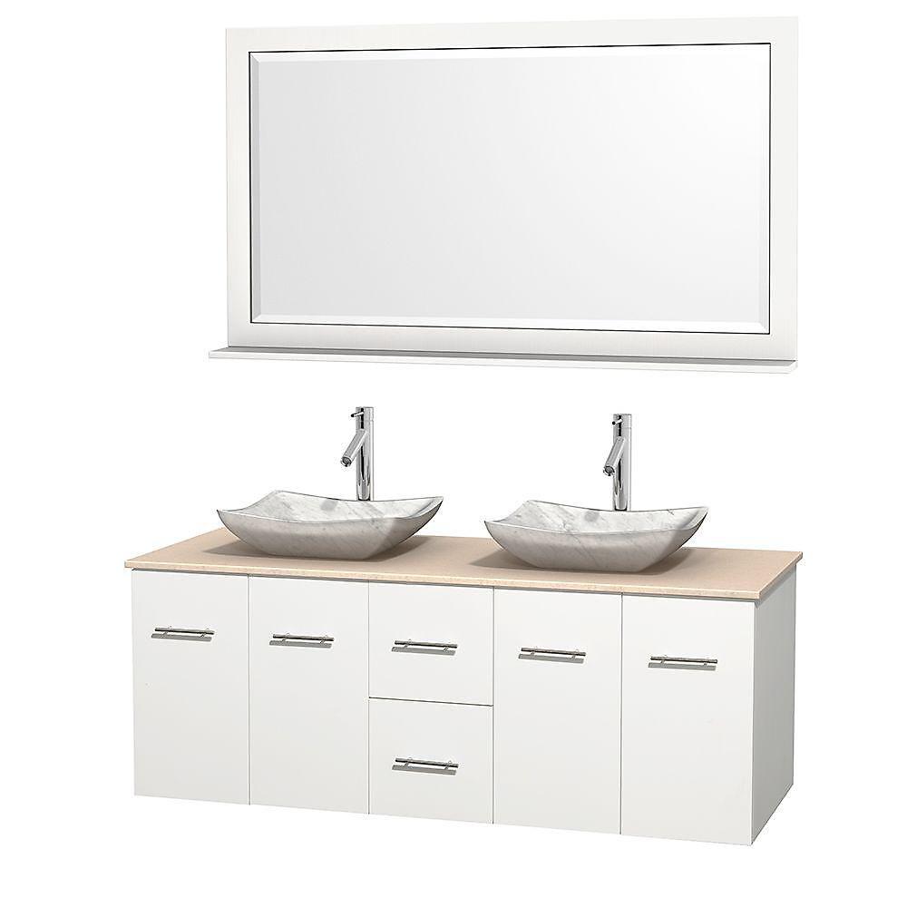 Meuble double Centra 60 po. blanc, comptoir marbre ivoire, lavabos blanc Carrare, miroir 58 po.