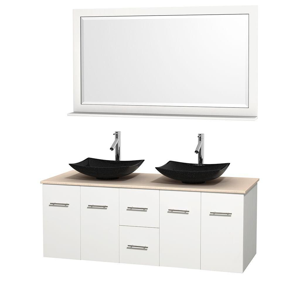Centra 60-inch W Double Vanity in White with Marble Top in Ivory with White Basins and Mirror