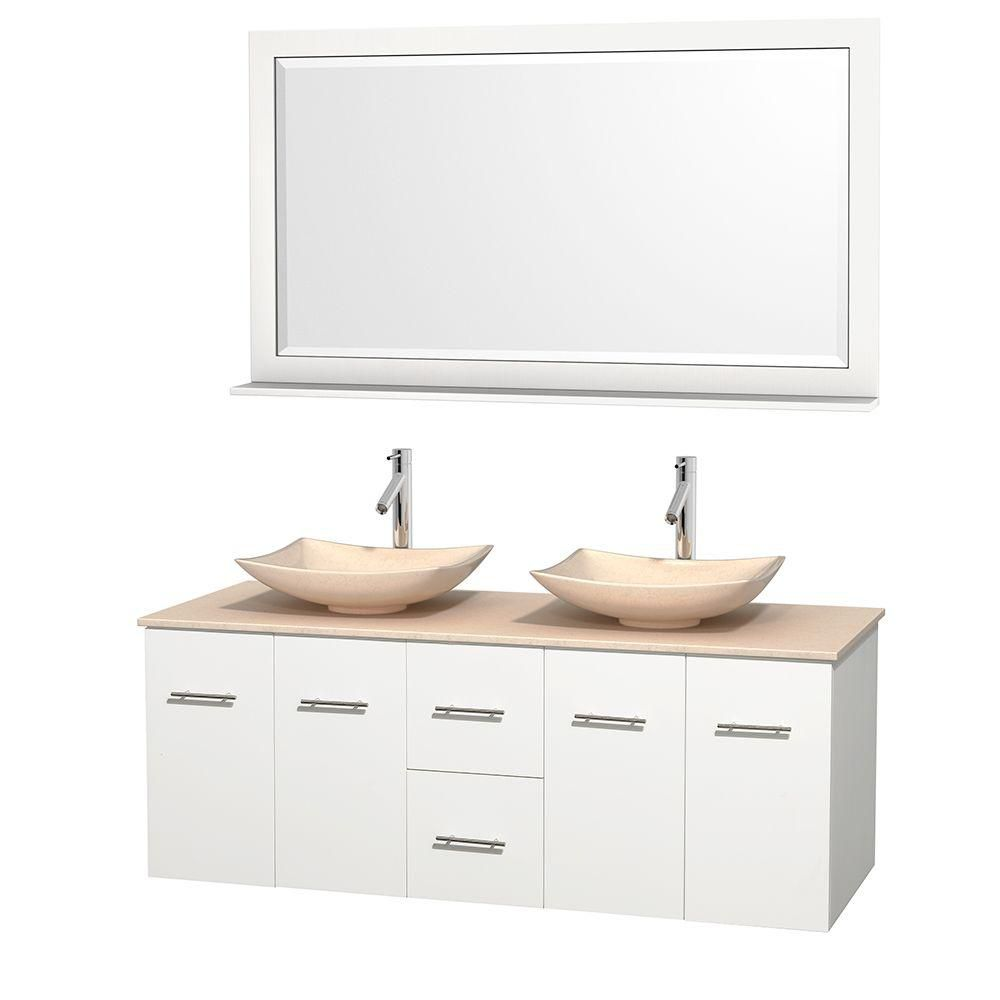 Centra 60-inch W Double Vanity in White with Marble Top in Ivory with Ivory Basins and Mirror