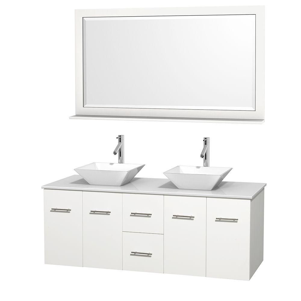 Meuble double Centra 60 po. blanc, comptoir solide, lavabos porcelaine blanche, miroir 58 po.