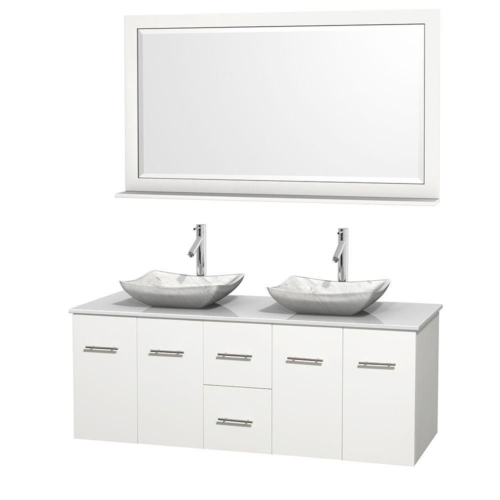 Centra 60-inch W Double Vanity in White with Solid Top with White Basins and Mirror