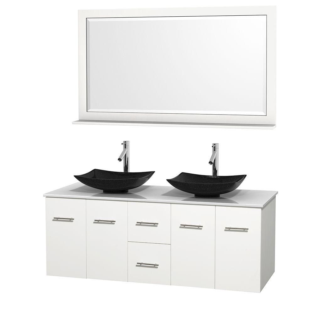 Centra 60-inch W Double Vanity in White with Solid Top with Black Basins and Mirror