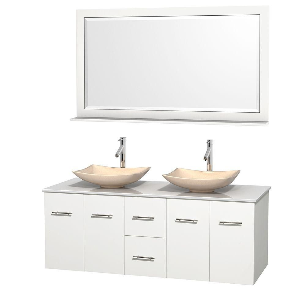 Centra 60-inch W Double Vanity in White with Solid Top with Ivory Basins and Mirror