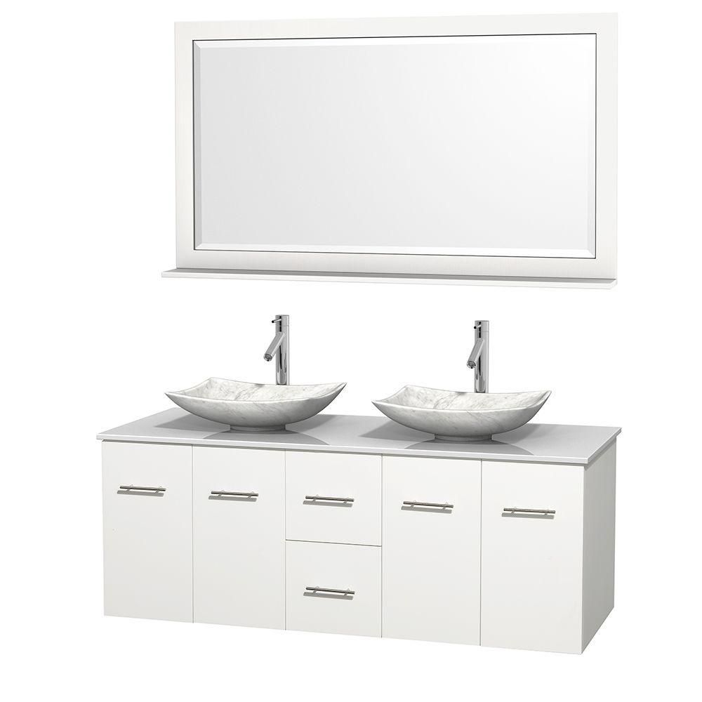 Centra 60-inch W 2-Drawer 4-Door Vanity in White With Artificial Stone Top in White, Double Basins