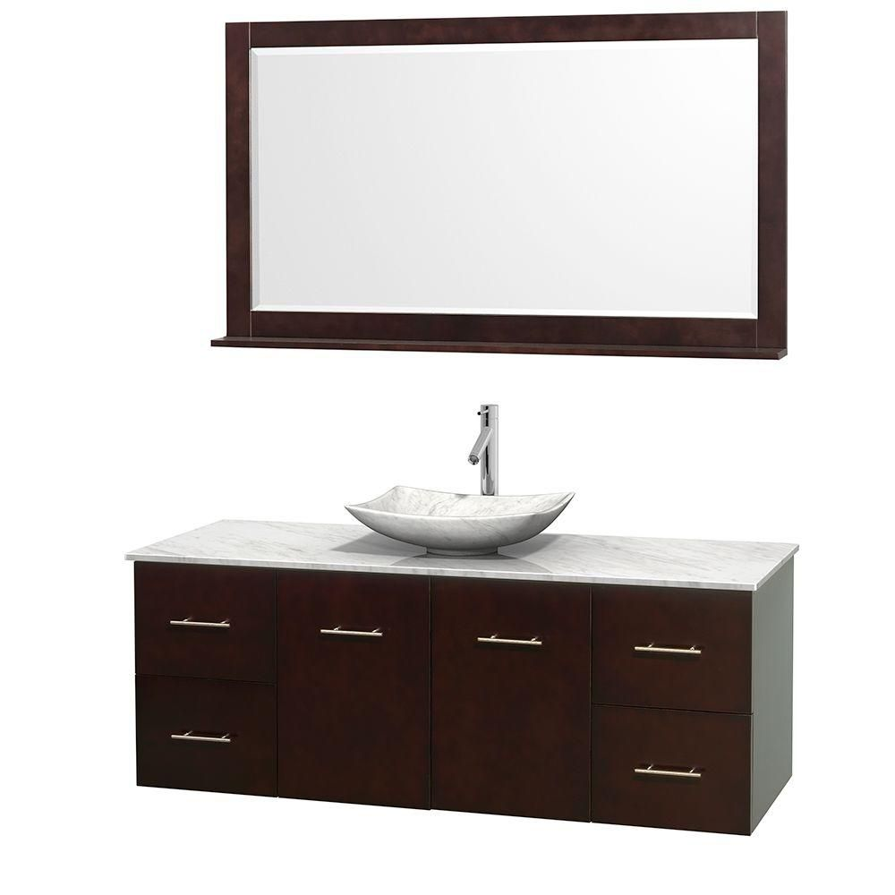 Wyndham Collection Centra 60-inch W 4-Drawer 2-Door Wall Mounted Vanity in Brown With Marble Top in White With Mirror