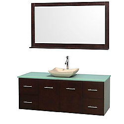 Wyndham Collection Centra 60-inch W 4-Drawer 2-Door Wall Mounted Vanity in Brown With Top in Green With Mirror