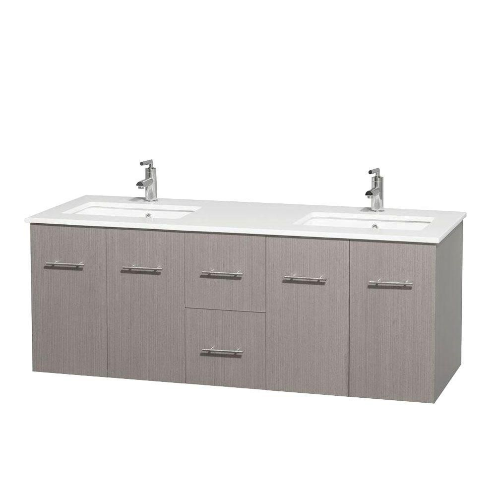 Centra 60-inch W Double Vanity in Grey Oak with Solid Top with Square Basins