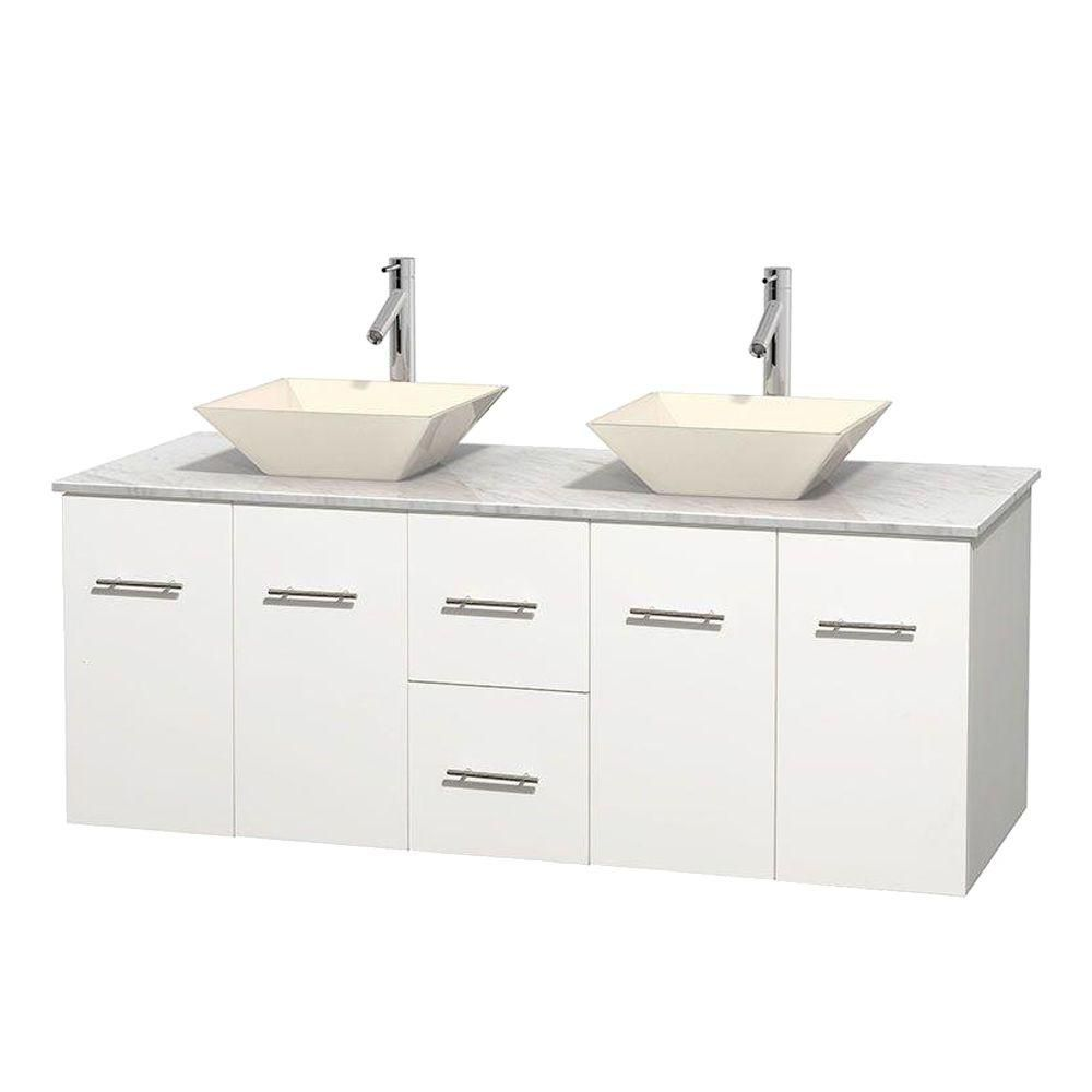 Meuble double Centra 60 po. blanc, comptoir blanc Carrare, lavabos porcelaine bone sans miroir
