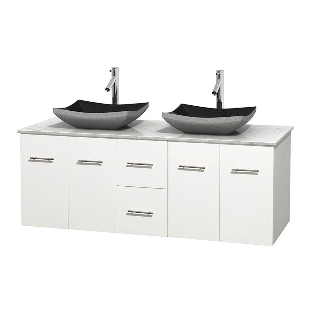 Centra 60-inch W Double Vanity in White with White Top with Black Basins