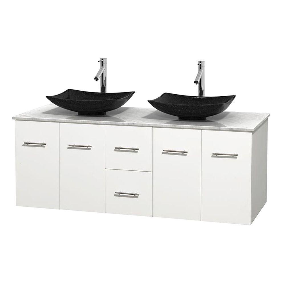 Meuble double Centra 60 po. blanc, comptoir blanc Carrare, lavabos granit noir, sans miroir