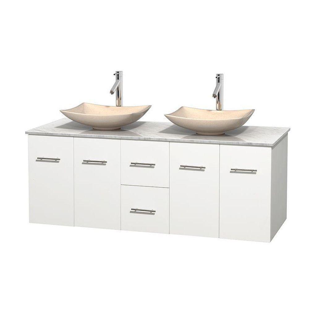 Meuble double Centra 60 po. blanc, comptoir blanc Carrare, lavabos ivoire, sans miroir