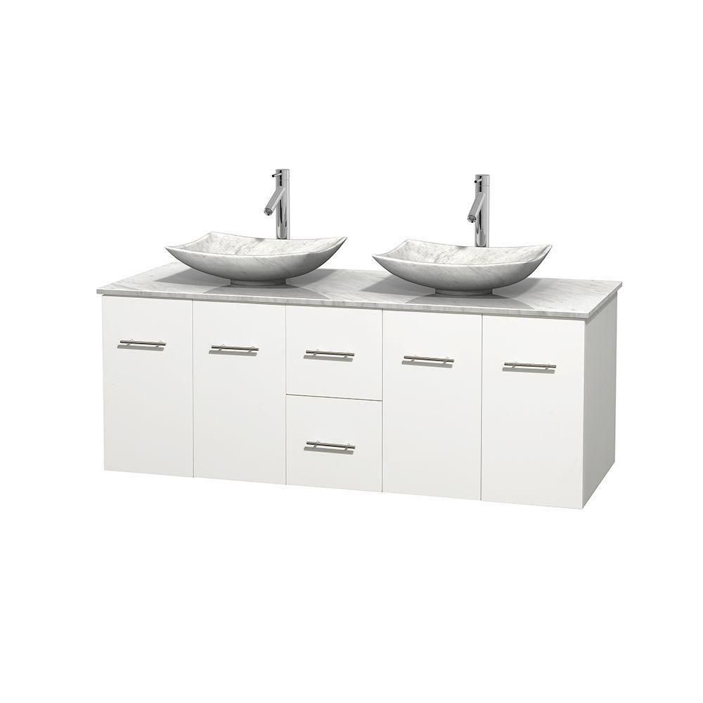 Centra 60-inch W Double Vanity in White with White Top with White Basins