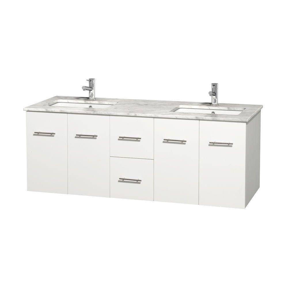 Centra 60-inch W Double Vanity in White with White Top with Square Basins