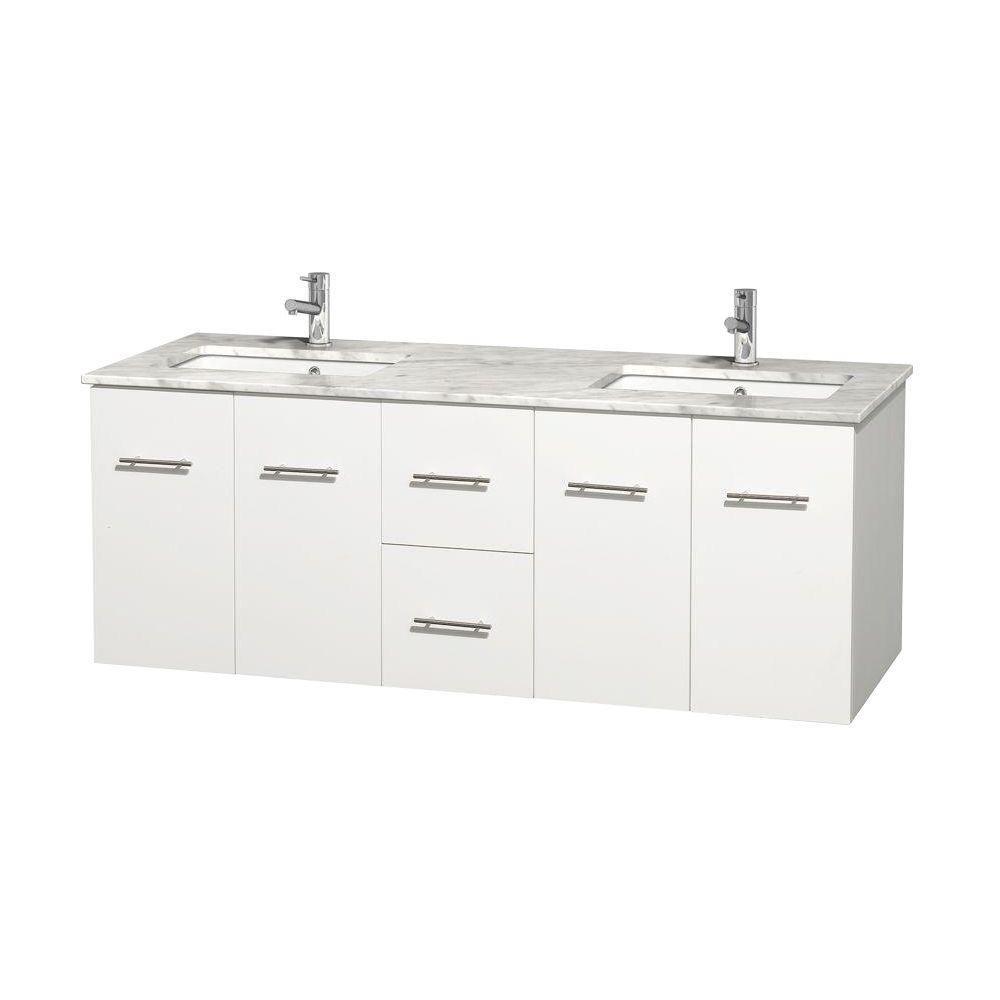 Meuble double Centra 60 po. blanc, comptoir blanc Carrare, lavabos carrés sans miroir