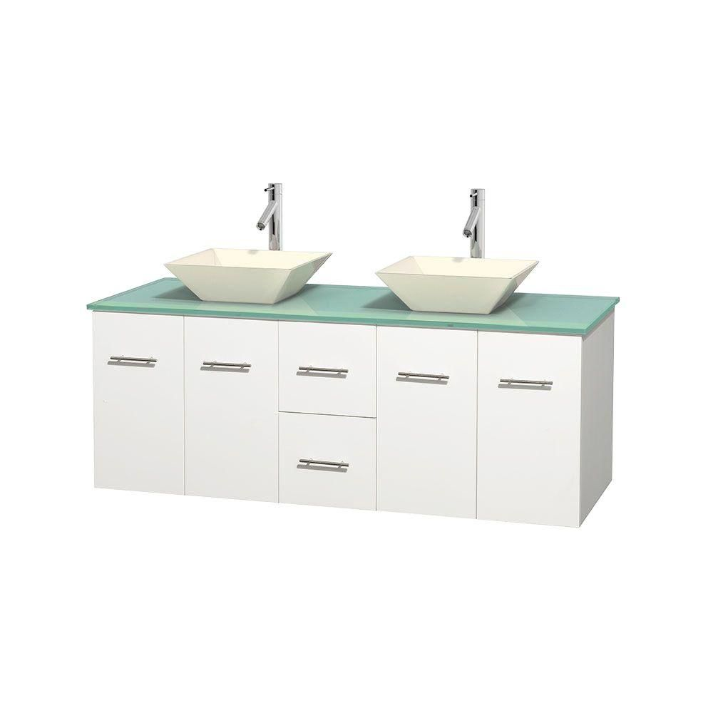 Centra 60-inch W Double Vanity in White with Glass Top with Bone Basins