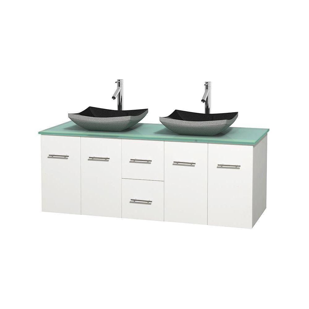 Meuble double Centra 60 po. blanc, comptoir verre vert, lavabos granit noir, sans miroir