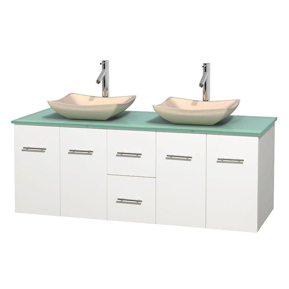 Centra 60 In. Double Vanity in White with Green Glass Top with Ivory Sinks and No Mirror WCVW00960DWHGGGS2MXX Canada Discount