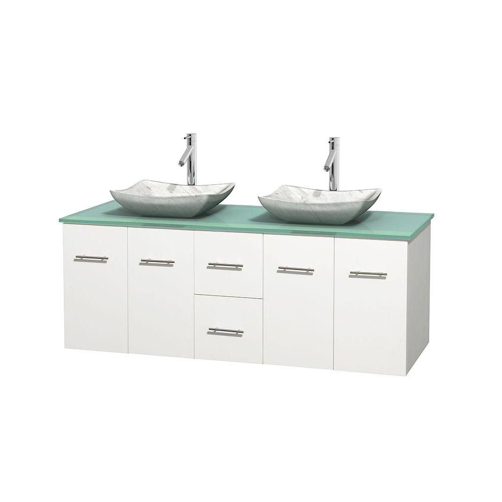 Centra 60-inch W Double Vanity in White with Glass Top with White Basins