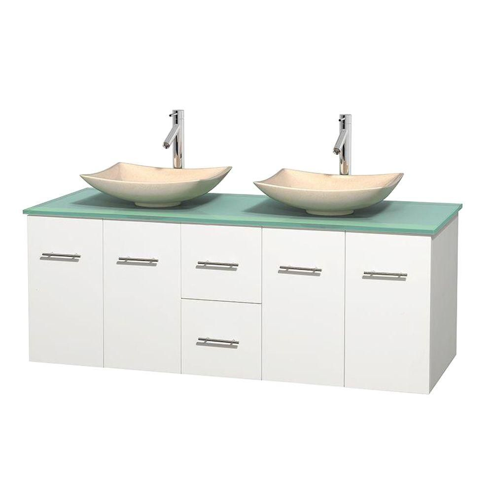 Centra 60-inch W Double Vanity in White with Glass Top with Ivory Basins