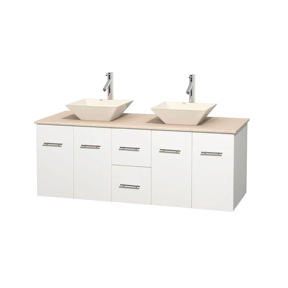 Wyndham collection meuble double centra 60 po blanc comptoir marbre ivoire lavabos porcelaine for Meuble lavabo double