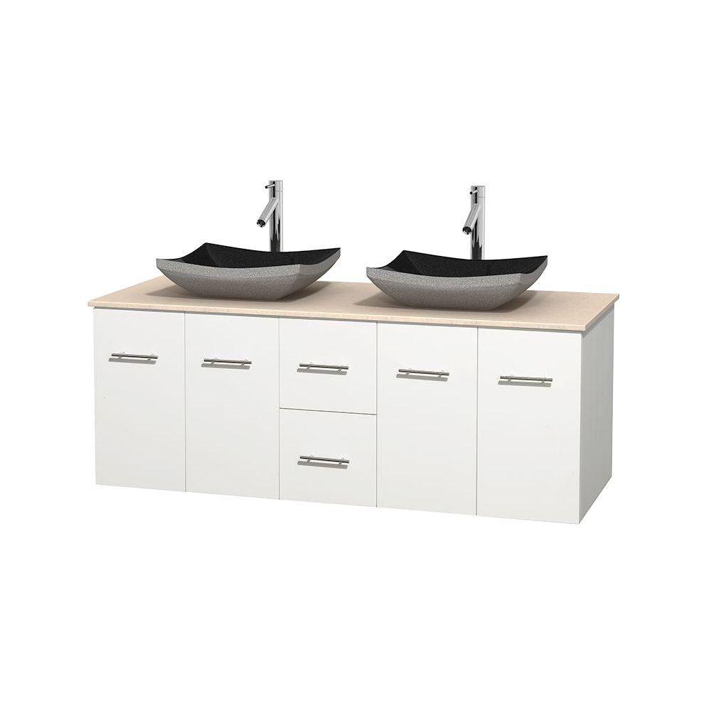 Meuble double Centra 60 po. blanc, comptoir marbre ivoire, lavabos granit noir, sans miroir