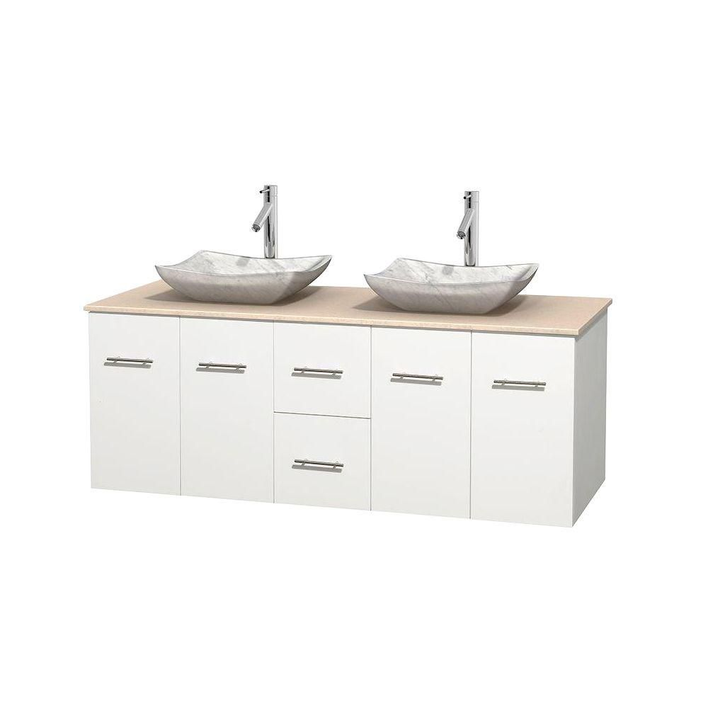 Centra 60-inch W Double Vanity in White with Marble Top in Ivory with White Basins
