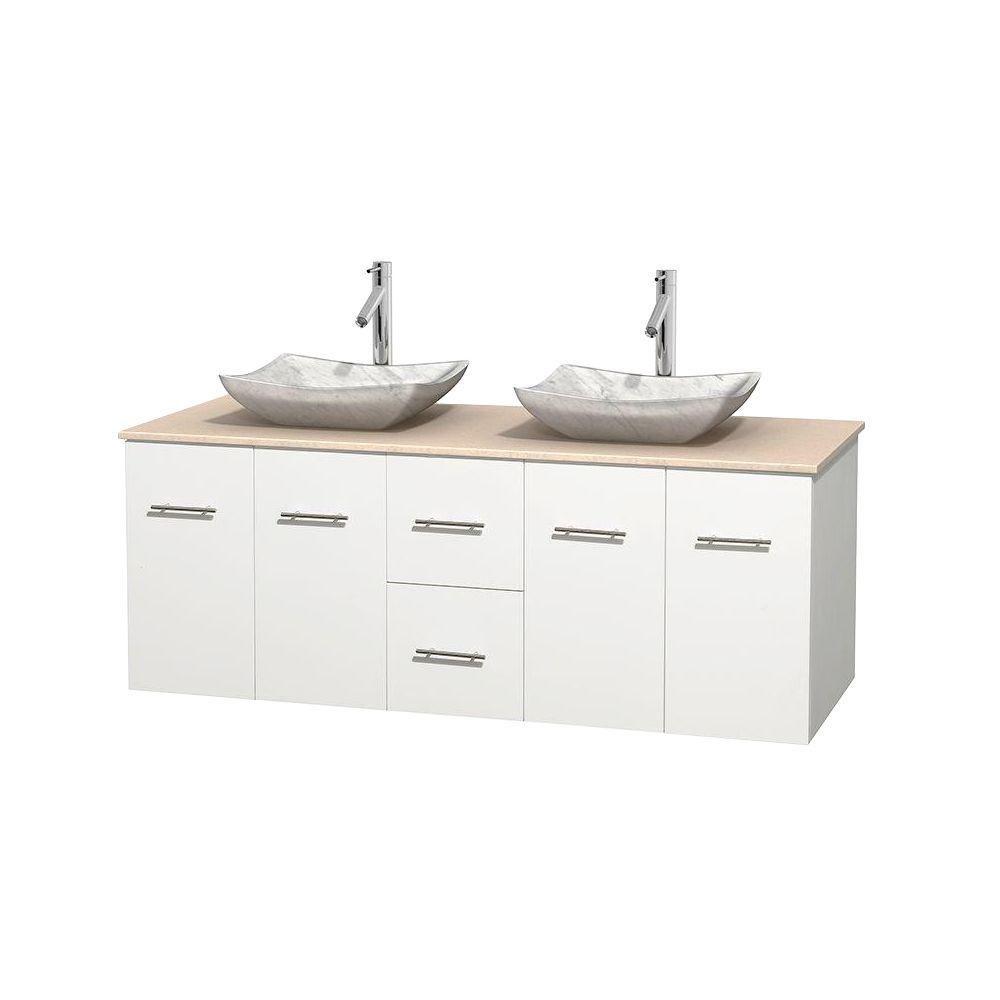 Meuble double Centra 60 po. blanc, comptoir marbre ivoire, lavabos blanc Carrare, sans miroir