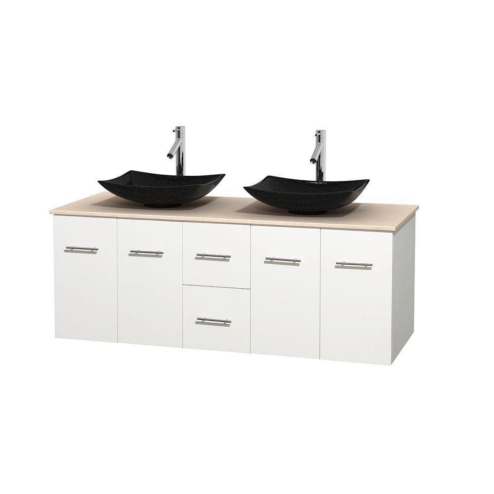 Wyndham Collection Meuble double Centra 60 po. blanc, comptoir marbre ivoire, lavabos granit noir, sans miroir