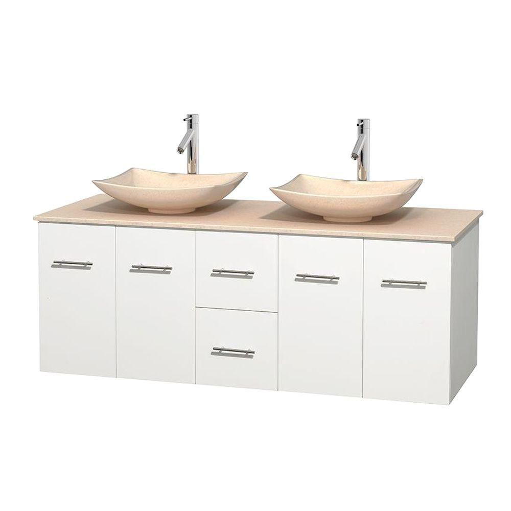 Centra 60-inch W Double Vanity in White with Marble Top in Ivory with Ivory Basins