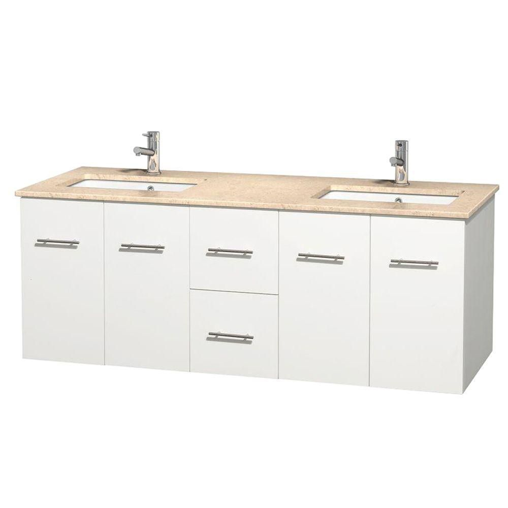 Centra 60-inch W Double Vanity in White with Marble Top in Ivory with Square Basins