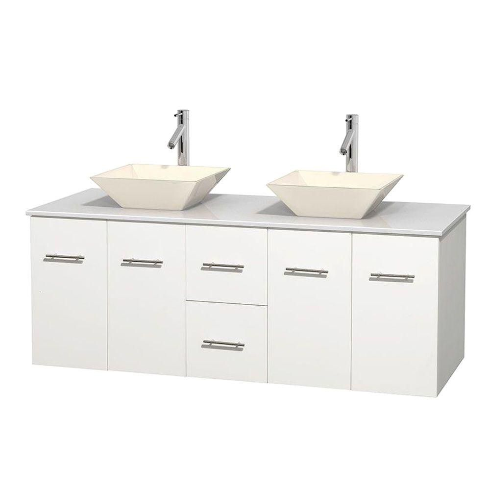 Centra 60-inch W Double Vanity in White with Solid Top with Bone Basins