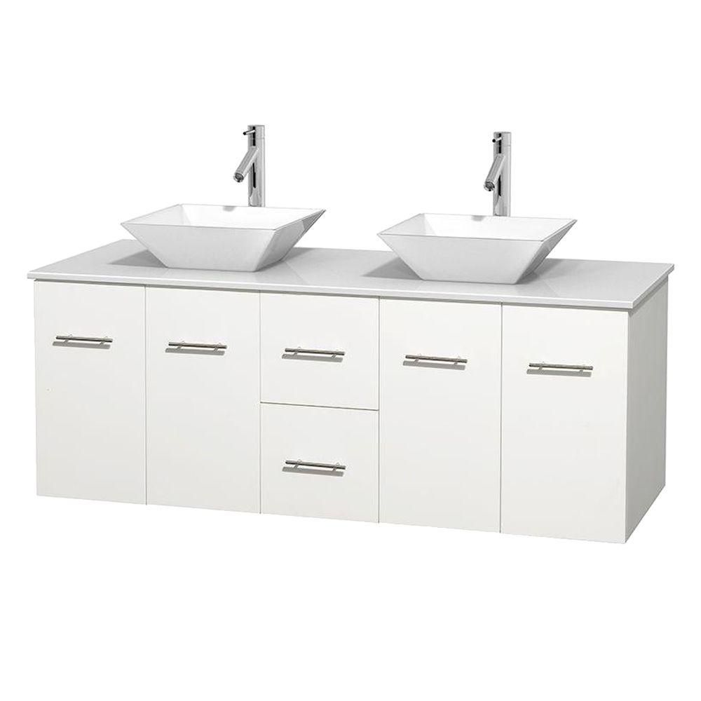 Centra 60-inch W Double Vanity in White with Solid Top with White Basins