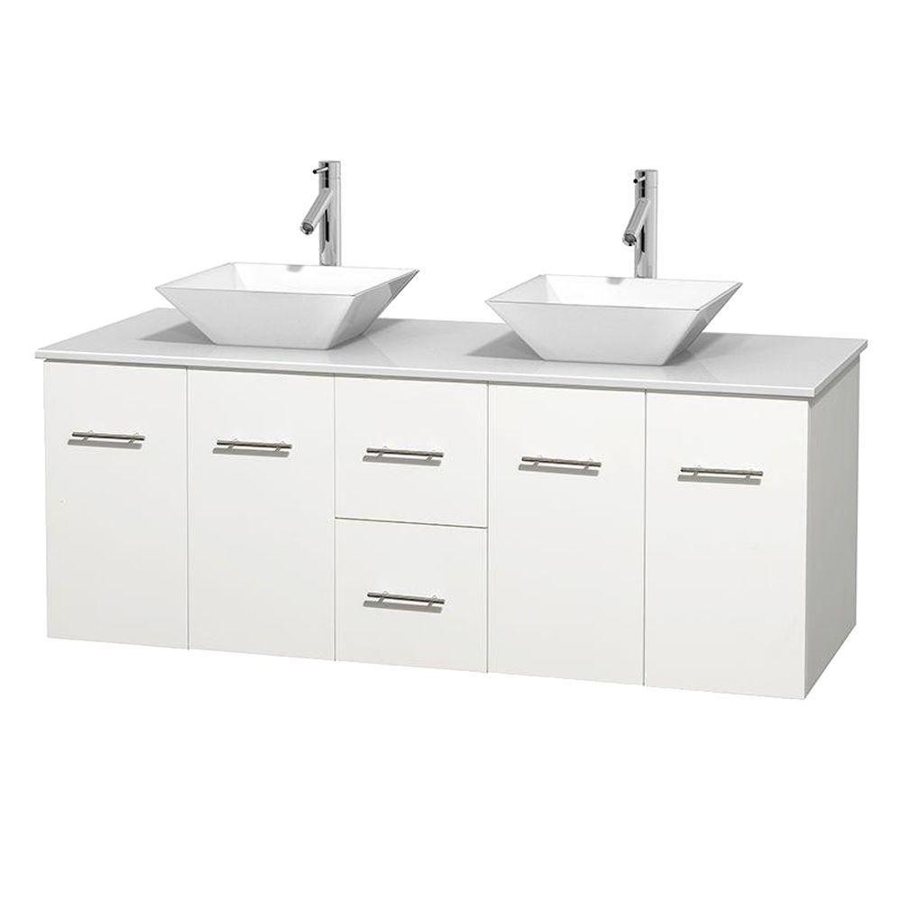 Meuble double Centra 60 po. blanc, comptoir solide, lavabos porcelaine blanche sans miroir