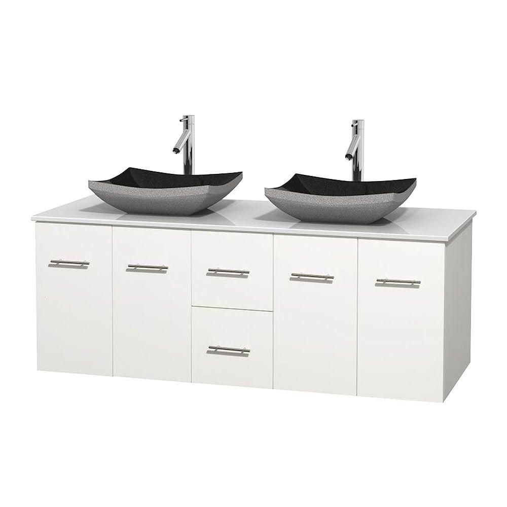 Centra 60-inch W Double Vanity in White with Solid Top with Black Basins