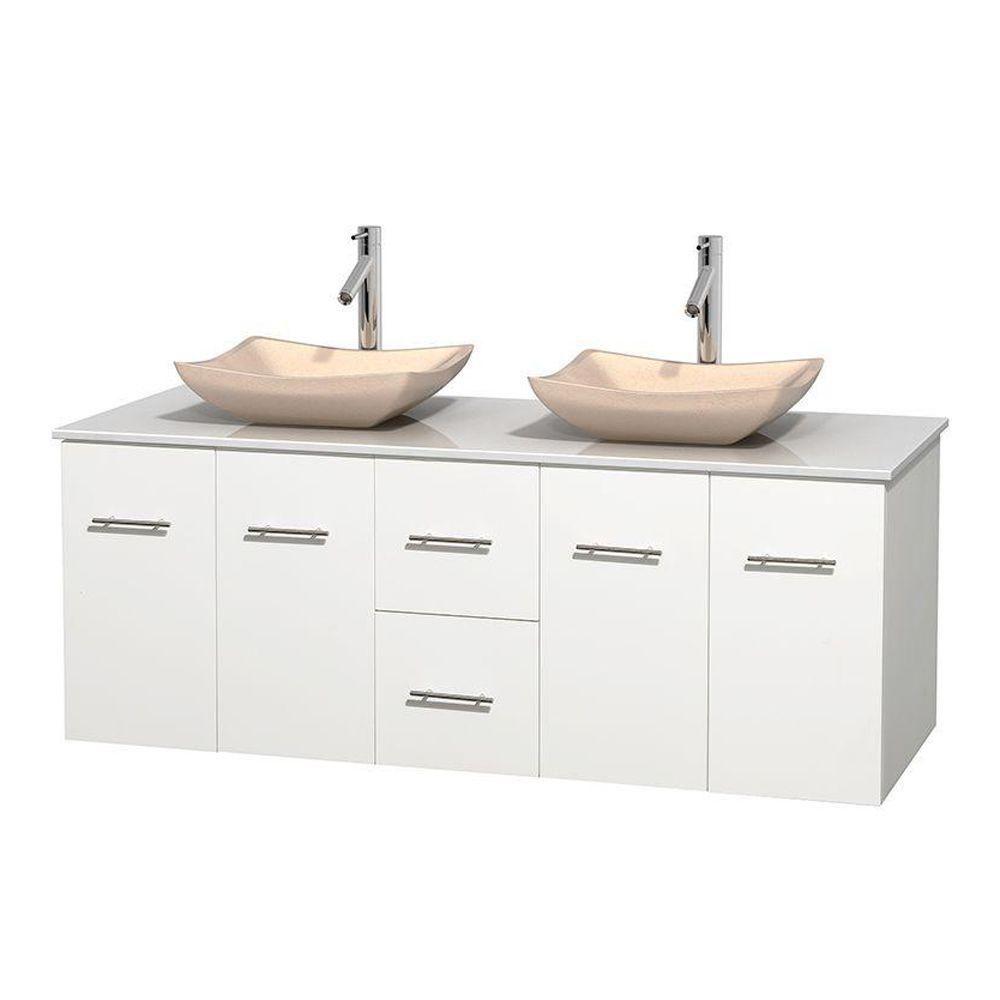 Meuble double Centra 60 po. blanc, comptoir solide, lavabos ivoire, sans miroir