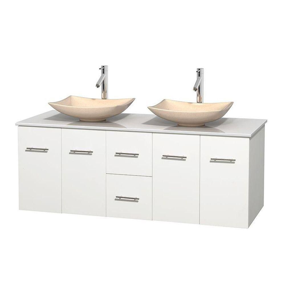 Centra 60-inch W Double Vanity in White with Solid Top with Ivory Basins