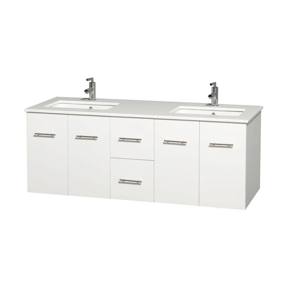 Centra 60-inch W Double Vanity in White with Solid Top with Square Basins