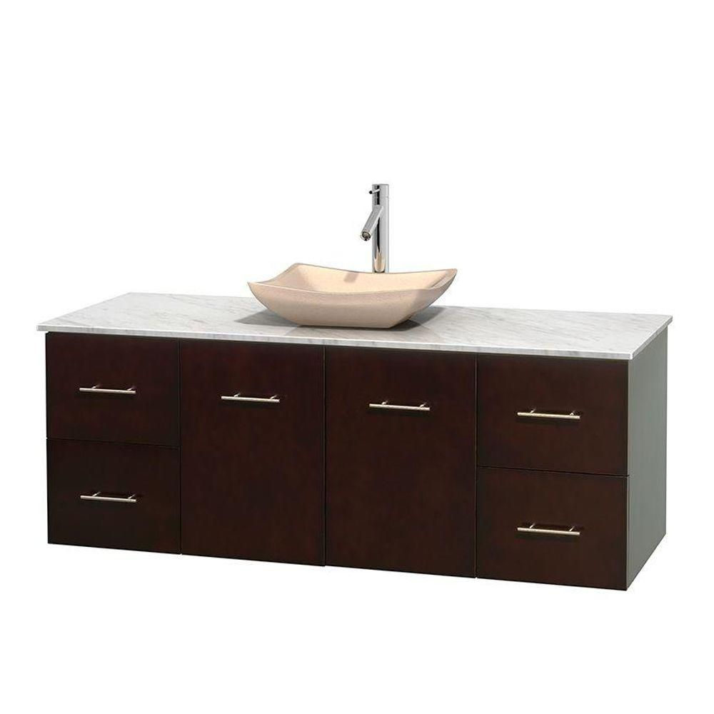 Wyndham collection meuble simple centra 60 po espresso for Meuble lavabo miroir