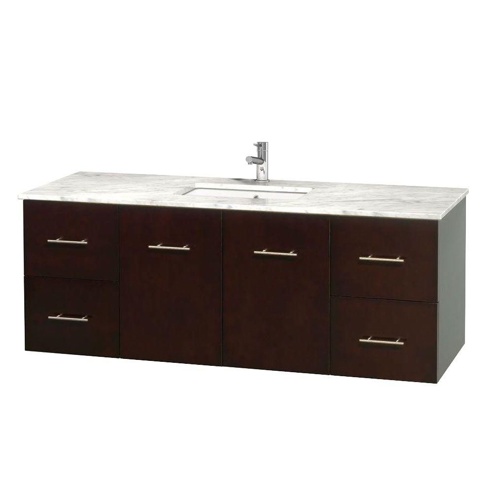 Centra 60-inch W 4-Drawer 2-Door Wall Mounted Vanity in Brown With Marble Top in White