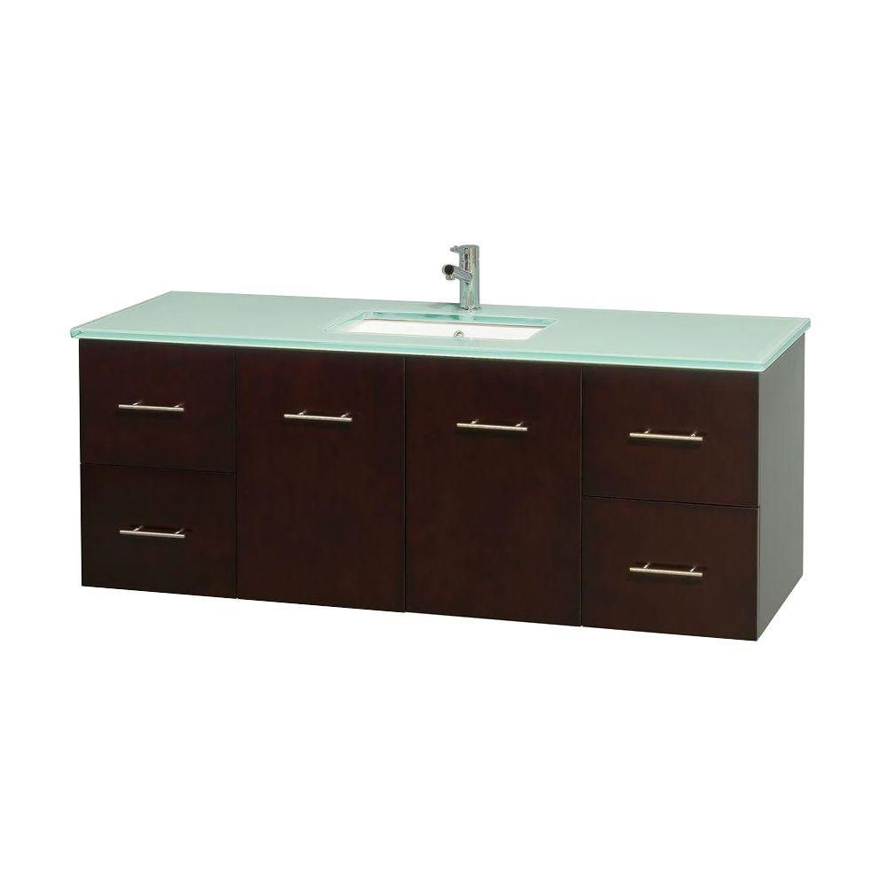 Centra 60-inch W Vanity in Espresso with Glass Top with Square Basin
