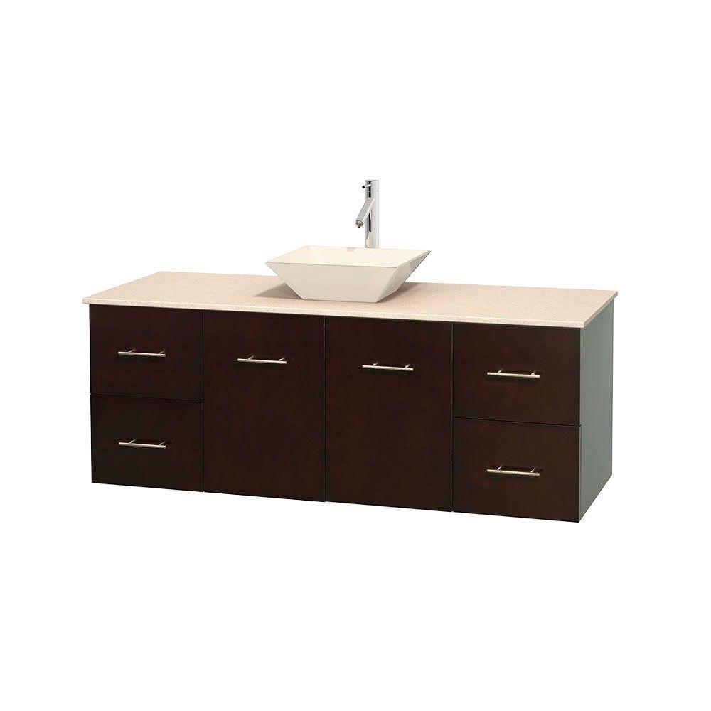 Meuble unique Centra 60 po. espresso, comptoir marbre ivoire, lavabo porcelaine bone sans miroir