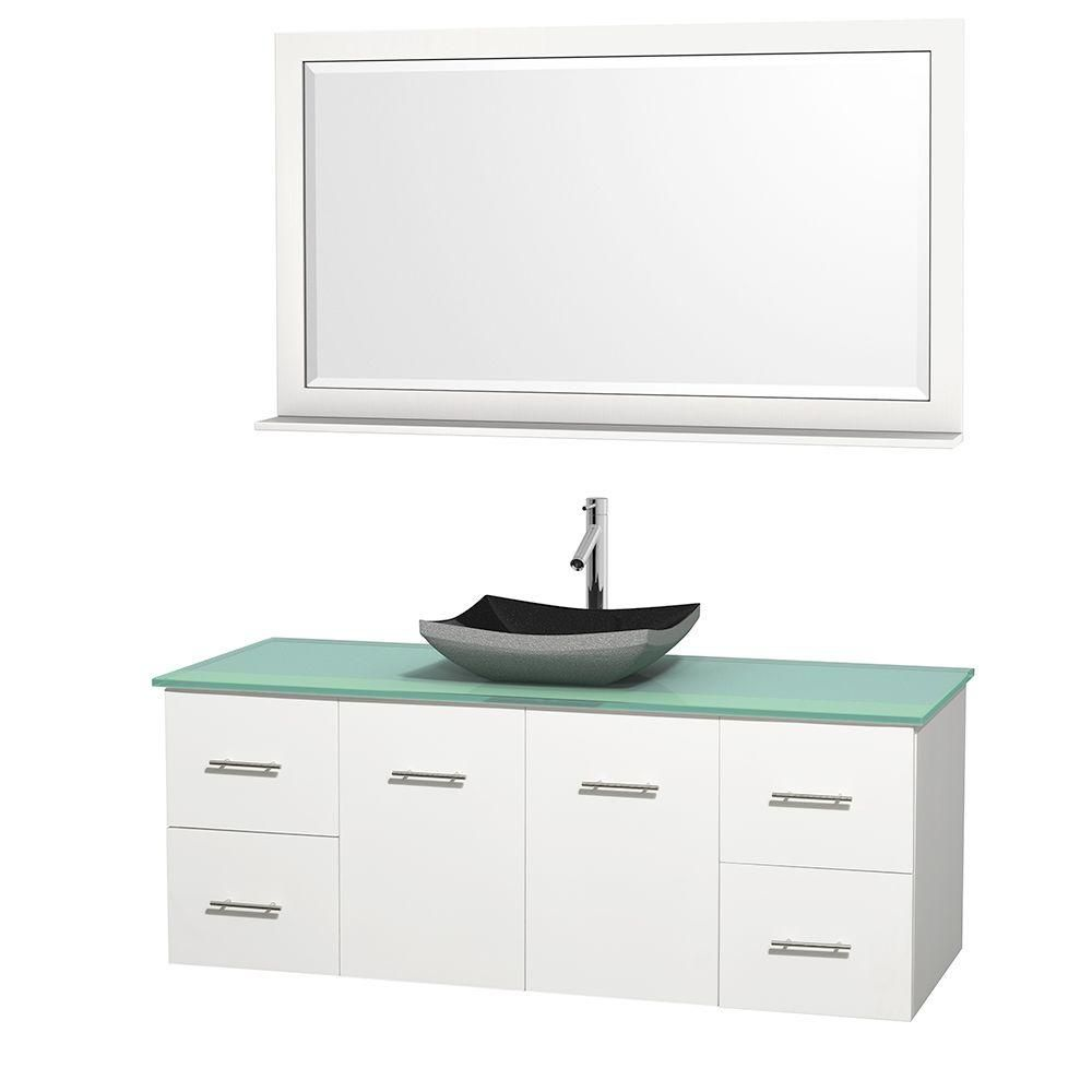 Centra 60 In. Single Vanity in White with Green Glass Top with Black Granite Sink and 58 In. Mirror WCVW00960SWHGGGS1M58 Canada Discount