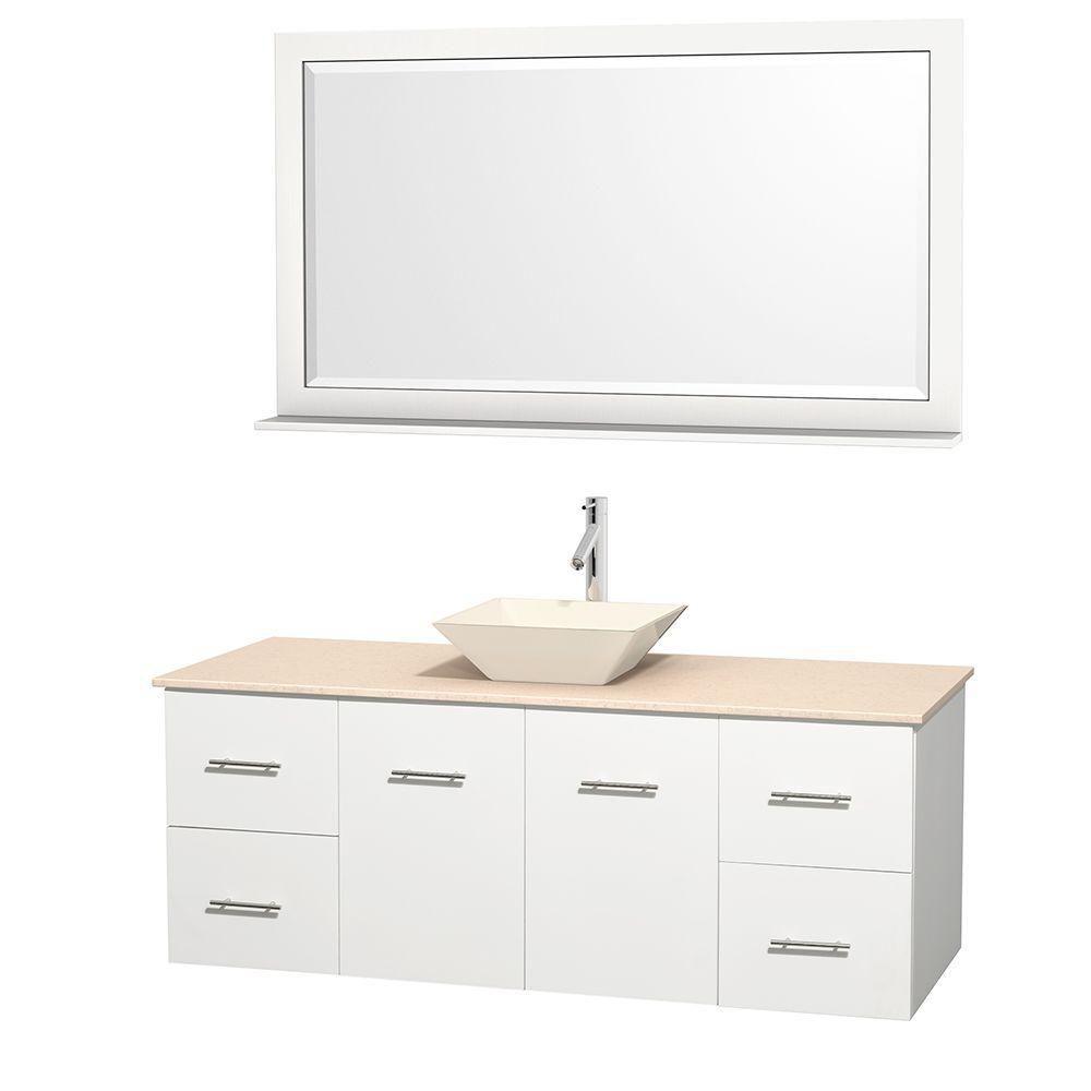 Meuble unique Centra 60 po. blanc, comptoir marbre ivoire, lavabo porcelaine bone, miroir 58 po.