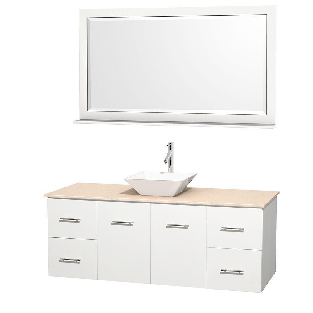 Meuble unique Centra 60 po. blanc, comptoir marbre ivoire, lavabo porcelaine blanche, miroir 58 p...