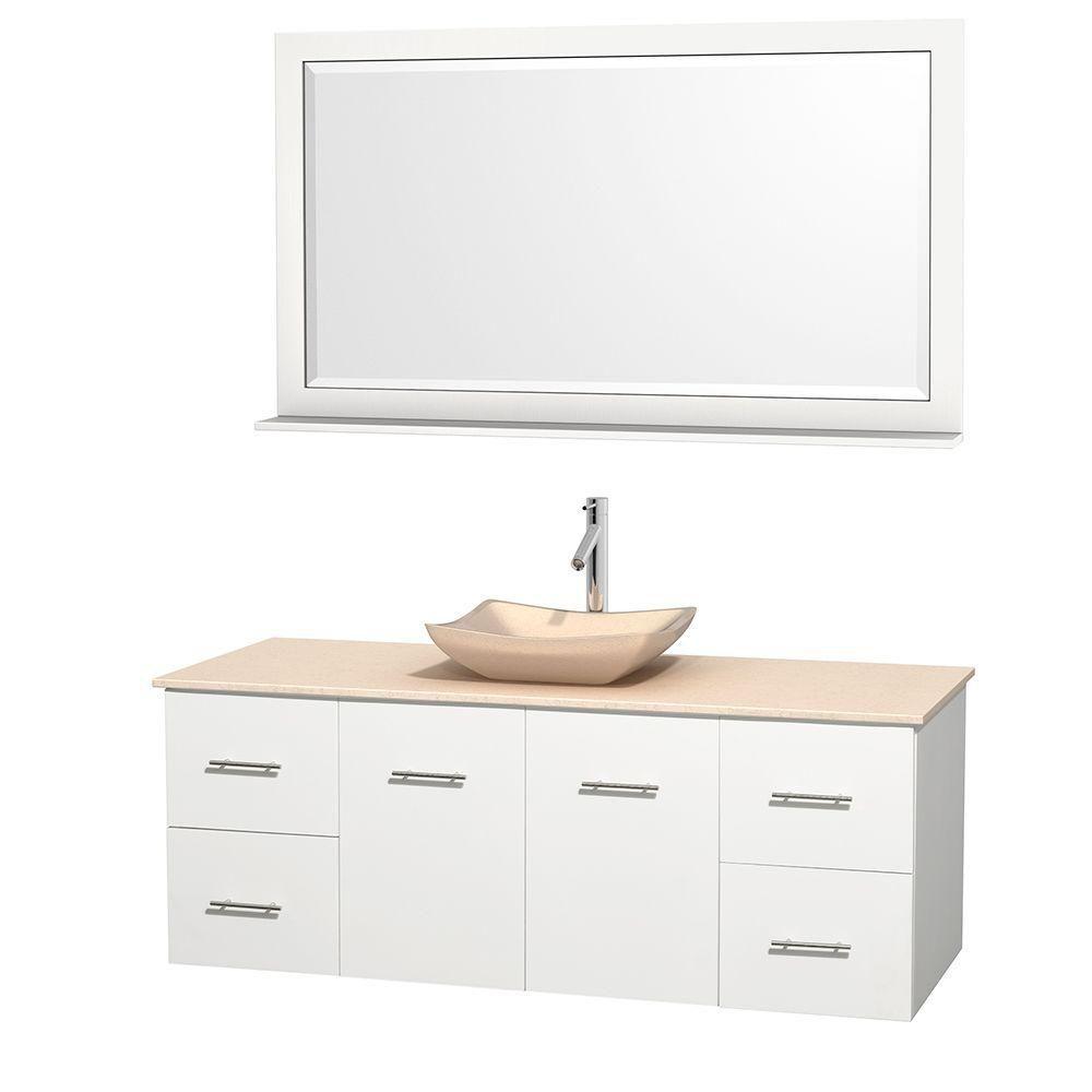 Meuble simple Centra 60 po. blanc, comptoir marbre ivoire, lavabo ivoire, miroir 58 po.